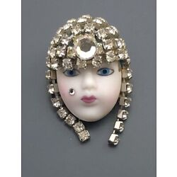 Kyпить Vintage  handmade hand painted lady  Face brooch  Pin на еВаy.соm
