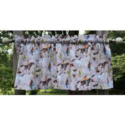 Southwestern Cowboy Western Rodeo Horse Cactus Taupe Cotton Duck Curtain Valance