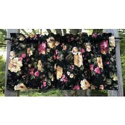 Cottage Pink Yellow Rose Peony Floral Chic Flowers on Black Curtain Valance