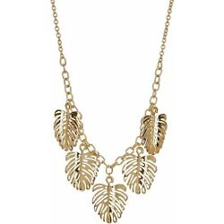 Kyпить Bay Studio Goldtone Monstera Leaf Frontal Necklace One Size Gold на еВаy.соm