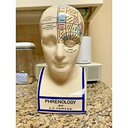 Kyпить L, N,  Fowler Phrenology Head With Colored Map Ceramic Coin Bank на еВаy.соm