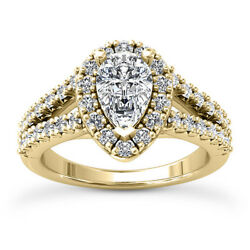 Kyпить Halo Split Shank 1.45 Carat SI/G Pear  Enhanced Diamond Engagement Ring 14k на еВаy.соm
