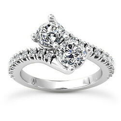 Kyпить 2 Stone 1.52 Carat H/SI Real Diamond Engagement Ring Round Cut 14k  Enhanced на еВаy.соm
