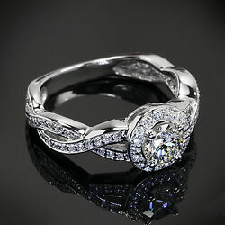 Kyпить Pave Twist Shank Halo 1.3 Ct Round Cut Diamond Engagement Ring SI1 F Enhanced на еВаy.соm