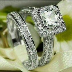 Kyпить 4.13ct Princess cut Diamond Engagement Ring Wedding Band Solid 14k White Gold на еВаy.соm