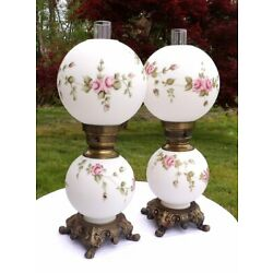 Kyпить Pair Vintage Victorian Shabby Chic Cottage Pink Roses White Glass GWTW Lamp 24