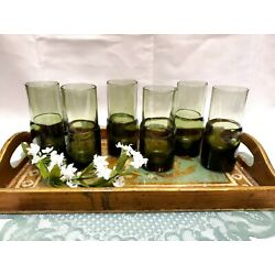 Kyпить Pier 1 Dark Green Double Dip Hand Blown Port Glass Shooters Glasses - Set of 6 на еВаy.соm