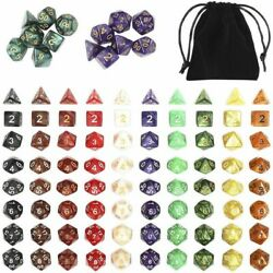 Polyhedral Dice Set with Velvet Bags for Table Games (96 Pieces)