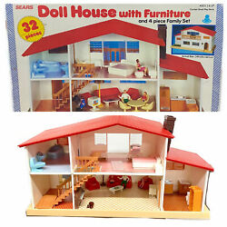 Sears Vintage 32 Piece Children's Doll House ( Over 50 Pieces ) Including