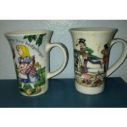 2  DIFFERENT Cardew MUGS Alice In Wonderland's Cafe & Christmas Party MINT 11 oz