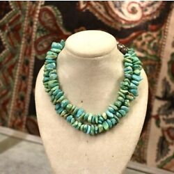 Kyпить Vintage sterling silver bench bead turquoise nugget necklace 18.5