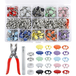804PCS Snap Fasteners Kit Solid Hollow Metal Prong Snaps Buttons + Setting Tool