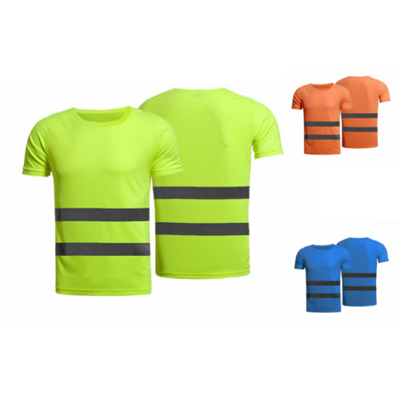 img-Hi Vis T Shirt High Visibility Shirt Reflective Tape Security Safety Work Tee