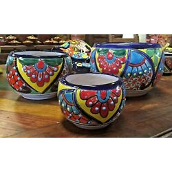 TALAVERA MEXICAN POTTERY -  OVAL SET OF 3 PLANTERS   ***FREE FREIGHT***