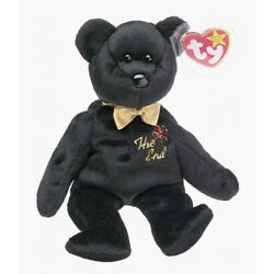 The End Black Bear - TY Beanie Baby Retired Rare Mint Condition Tags MWMT