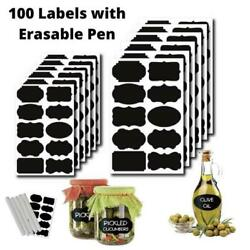 100 Reusable Chalkboard Labels with White Chalk Pen Included *** FREE SHIPPING i