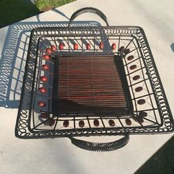 Pier 1 Imports Serving Tray Beaded Bamboo Wooden Metal Handles Funky Unique