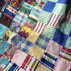 Vintage Postage Stamp Quilt Top hand stitched BEAUTY 1  squares 58.5 By 76 Inch
