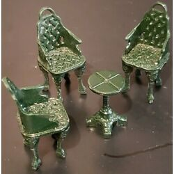 Holiday Time Lemax 56 Christmas Village Dining Set Table and Chairs Metal Green