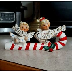 Rare Vintage  Merry Christmas  Angels Riding Candy Cane Japan (as-is)