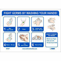 NMC ''Fight Germs By Washing Your Hands'' Vinyl Adhesive Sticker, 7'' x 14''