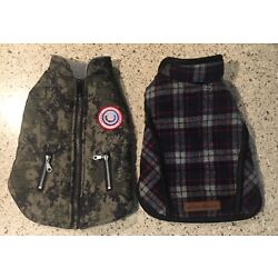 2 Dog Jackets 1-LuvGear S/P Quilted Puffer Jacket & 1-Eddie Bauer S Flannel Coat