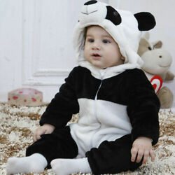 Baby Boy Girl Kids Cute Warm Winter 3D Panda Overall Thicken Romper Clothes
