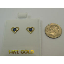 Solid 14K Yellow Gold Tiny Blue CZ Heart Screw Back Earrings for Children