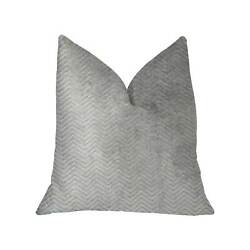 Plutus Silver Moon Gray and Silver Luxury Throw Pillow