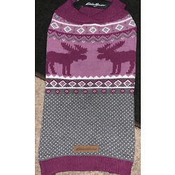 Eddie Bauer Pet Purple Sweater Size Large Moose New with Tags