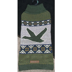 Eddie Bauer Pet Green Sweater Size Large Goose Flying New with Tags