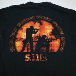 5.11 TACTICAL OUR DAY BEGINS WHEN YOURS ENDS TEE T SHIRT Mens M Black