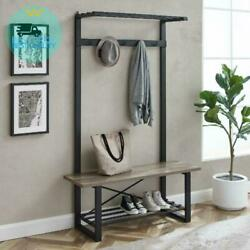 Manor Park Urban Hall Tree with Coat Hooks and Bench, Grey Wash