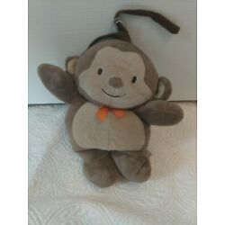 Carter's Child of Mine Brown Musical 10'' Monkey Plush Baby Crib Pull Toy Lovey