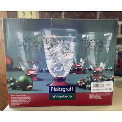 Pfaltzgraff Christmas Winterberry Set of 6 Footed Glass Water Goblets 14oz