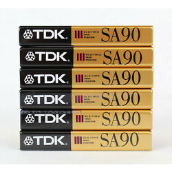 (6) TDK SA 90 Blank Audio Cassette Tapes High Bias, SEALED