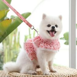 Dog Clothes Pet Puppy Cute Harness and  Leash Suit Cat Dress Collars  Dogs