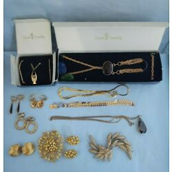 Box Lot of Goldtone Jewelry - Sarah Coventry Necklaces, American Eagle & More