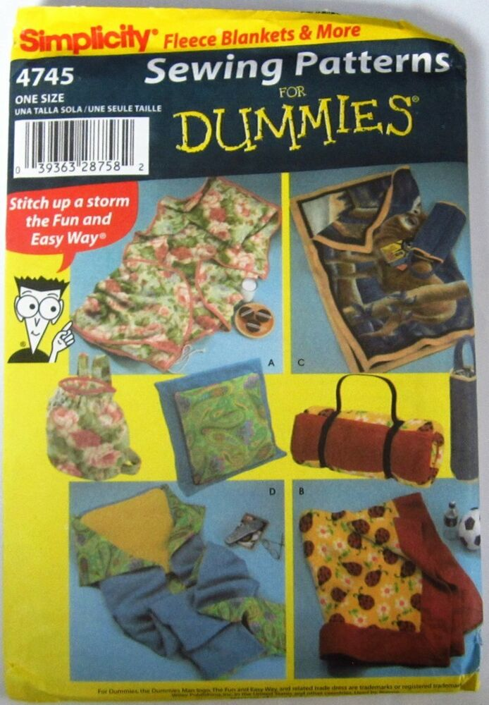 Free Quilt Patterns For Dummies : SIMPLICITY 4745 Sewing Patterns Dummies Fleece Blanket eBay