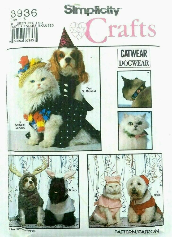 Simplicity 8936 oop dog cat costume collars pattern ebay for Simplicity craft pattern 4993
