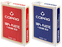 2 x 4 COLOUR 100% Plastic COPAG POKER PLAYING CARDS