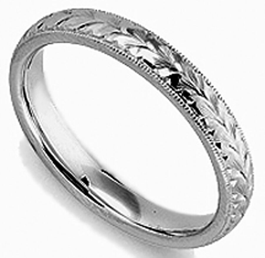 BRAND NEW LADY HAND ENGRAVED 3 MM WIDE PALLADIUM WEDDING