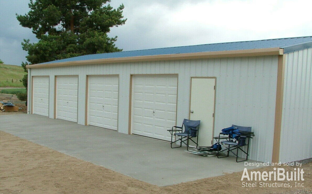 "Car Lift For Home Garage >> ""Steel, Metal, 4-Car Garage with Shop, Building Kit"" 