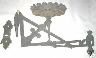 Wall Bracket Lamp Hinge : ANTIQUE VICTORIAN CAST IRON OIL GARDEN PLANT LAMP WALL BRACKET LAMPS HARDWARE eBay
