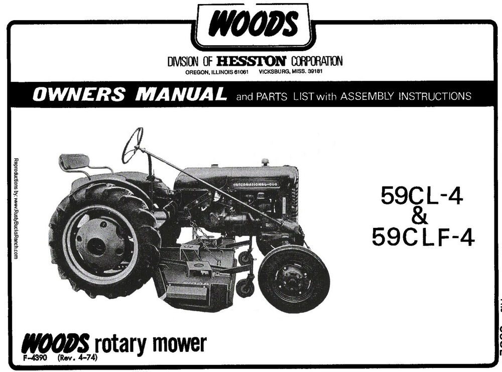 Woods Tractor Parts : Woods belly mower cl clf operators manual fits