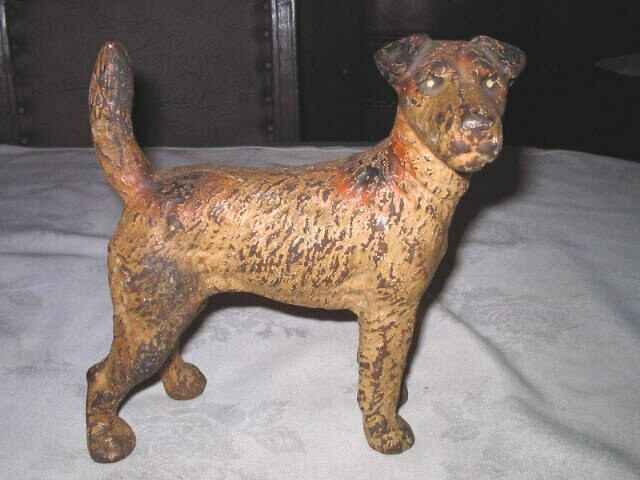 Antique hubley fox terrier home statue tool doorstop cast iron dog art door stop ebay - Cast iron dog doorstop ...