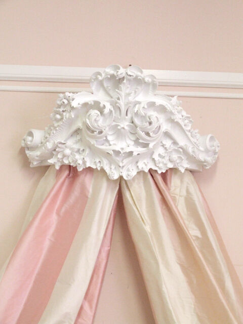 WOW Shabby Cottage Chic White Bed Crown Wall Cornice  eBay
