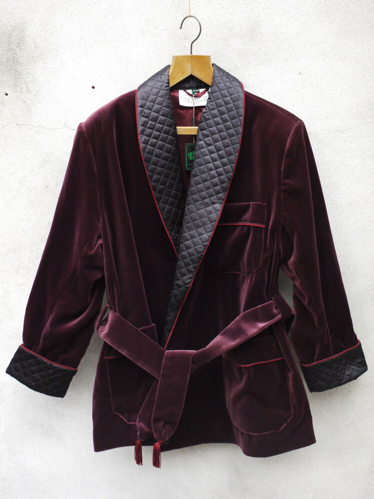 Gentleman's warm velvet smoking jacket and paisley silk robe. Vintage quilted dressing gown with monogram.