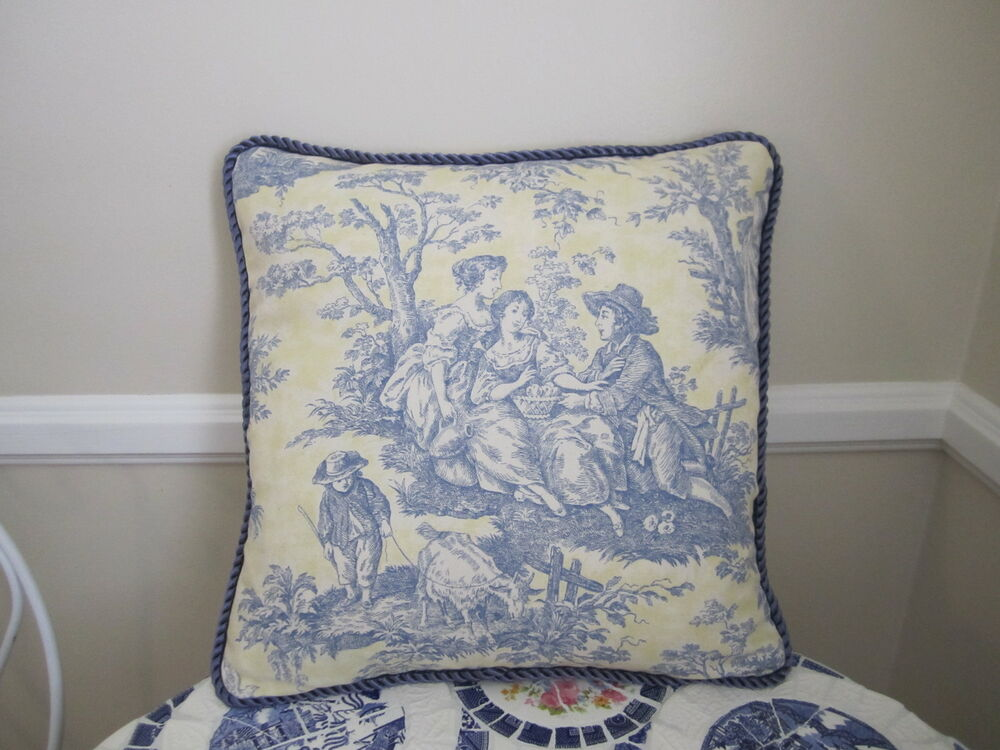 LAST ONES! Waverly Yellow & Blue French Country Life Toile