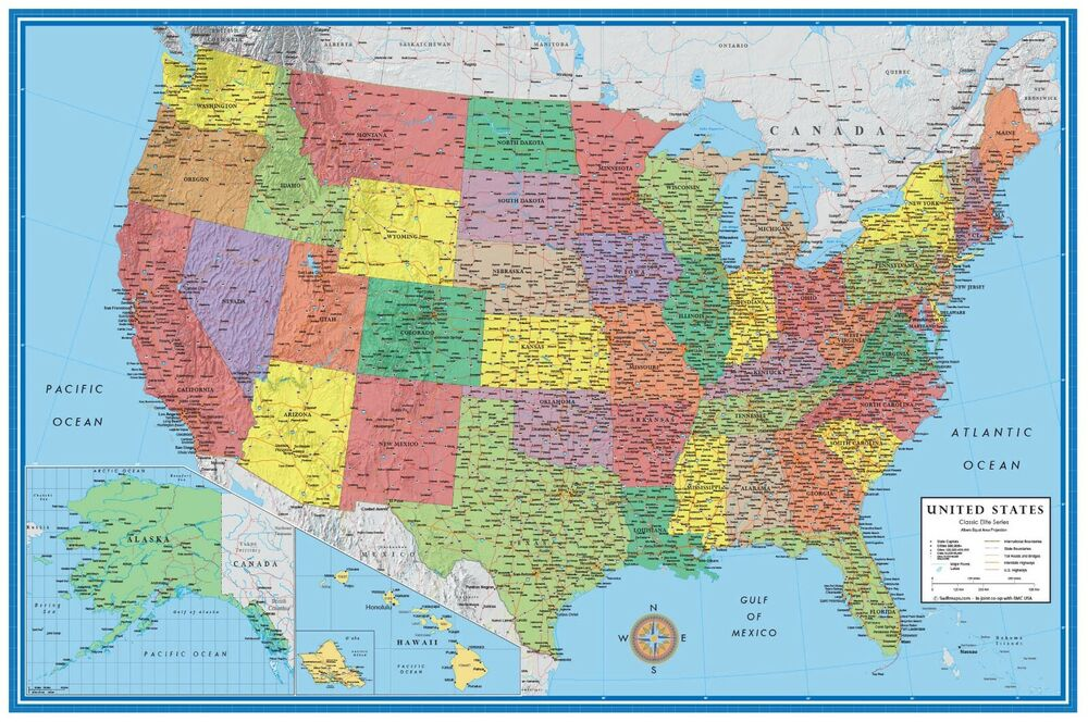 USA Map Posters Prints EBay - Map of northern states of usa